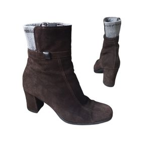AQUATALIA Brown Suede Heeled Boots Size 7.5